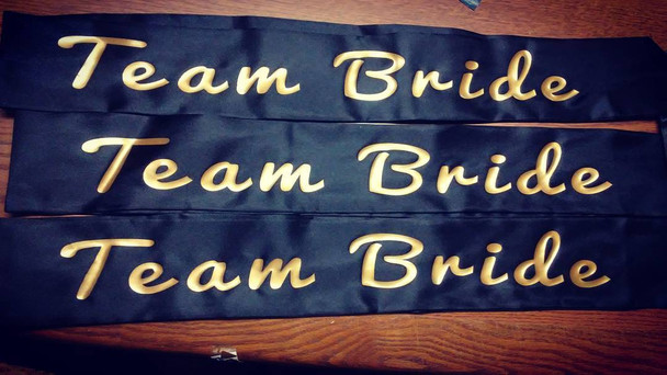 "Custom Pageant Wedding Black Satin Sashes Satin Quality 60"" 6862 (Fonts in Picture Gallery)"