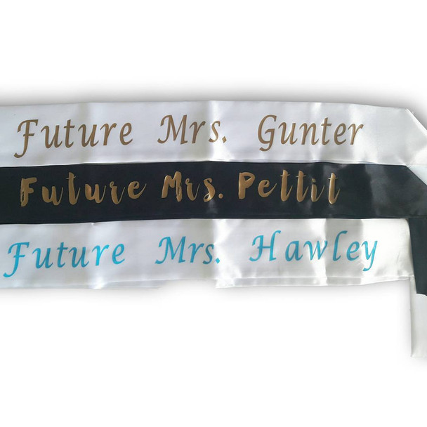 """Custom Pageant Wedding Black Satin Sashes Satin Quality 60"""" 6862 (Fonts in Picture Gallery)"""