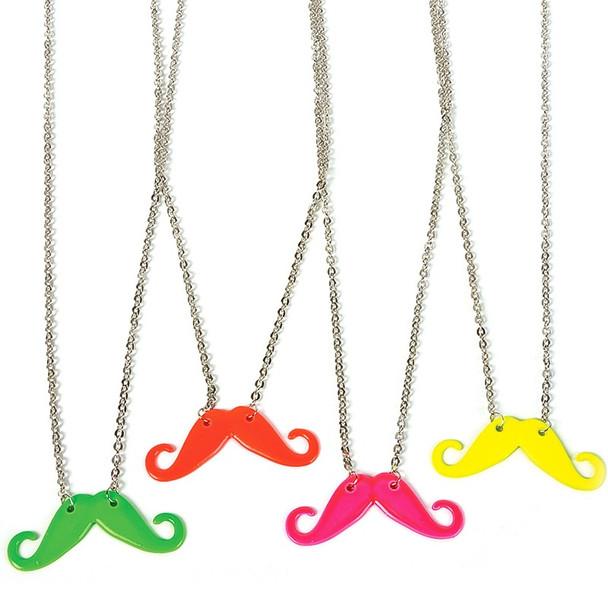 Party Favor Set Mustache Necklaces Mixed Colors 12 PACK 6646
