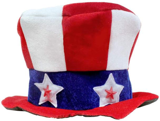 "Light Up Flashing L.E.D Uncle Sam Hat 22.5"" Standard Size Adult 5909"