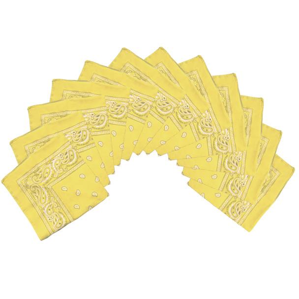 "Yellow Bandana 22"" Square Standard 100% Cotton 1023D"