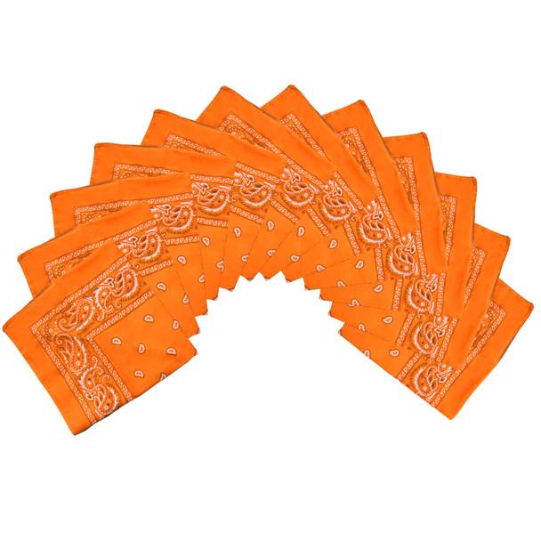 "Orange Bandana 22"" Square Standard 100% Cotton 12 PACK 1916D"