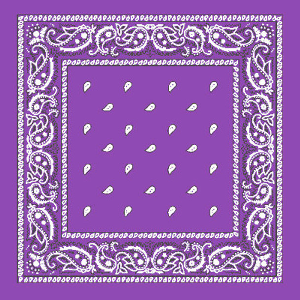 "Purple Bandana 22"" Square Standard 100% Cotton 12 PACK 1918D"