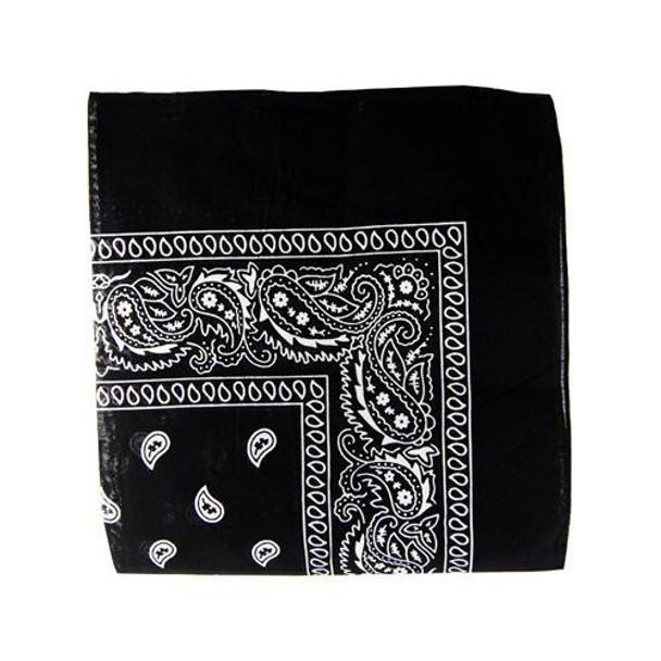 """Black Bandana 22"""" Square Standard 100% Cotton 12 PACK 1911D"""