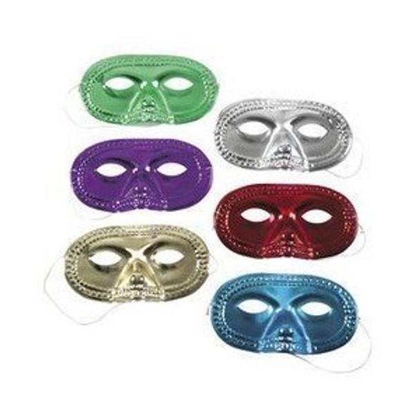 12 PACK Metallic Half-Masks Mardi Gras Bulk 10245