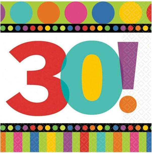 Birthday Napkins 30th Birthday 16 PC Standard 3807