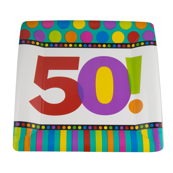 "Square Paper Plates 50th Birthday 8 PC STANDARD  10"" 3813"