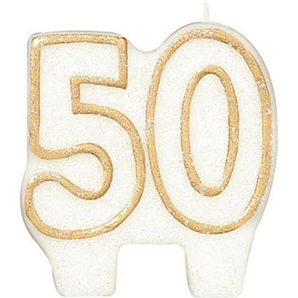 50th Birthday Candle Glitter 3819