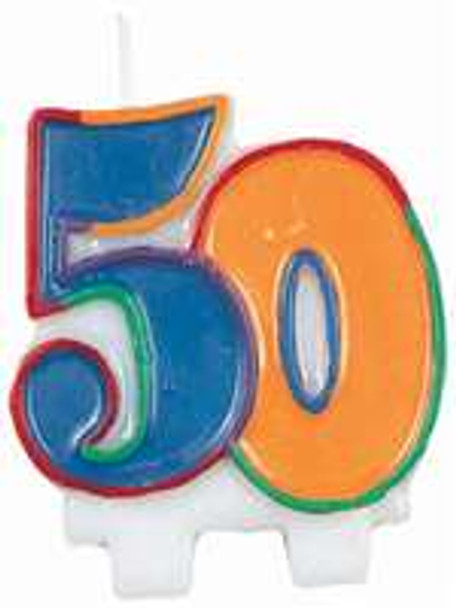 50th Birthday Candle Flat Molded 3820