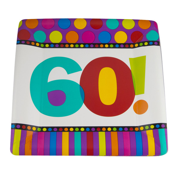 """60th Birthday Square Paper Plates 10"""" Dots and Stripes Pattern  3822"""