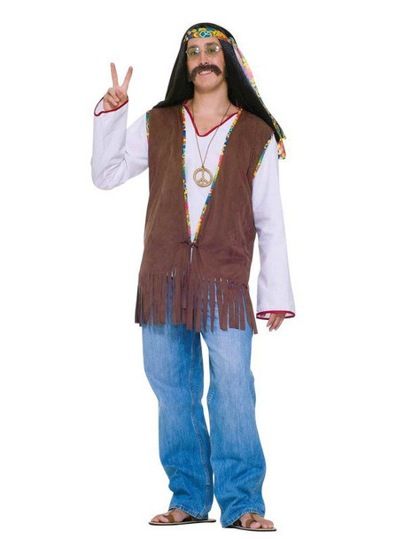 Mens Hippie Costume 70s Faux Suede Brown Fringed Vest