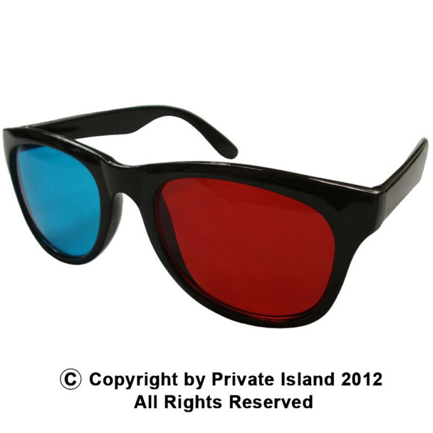 Anaglyph 3D Glasses  Vintage 80 Style Sunglasses Red and Blue 12 PACK 1171D