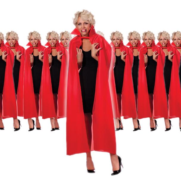 "12 PACK Red Adult Costume Cape Bulk 56"" Inch Cape Bulk Wholesale 4520D"