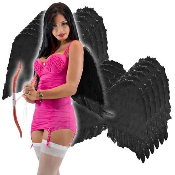 Black Angel Wings Wholesale | Black Angel Wings Bulk | Adult 12 PACK 4456D
