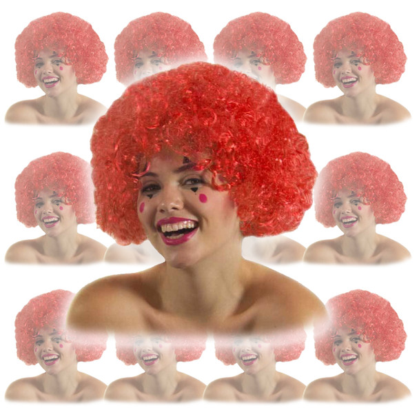 Red Clown Afro Wig 12 PACK 6032D