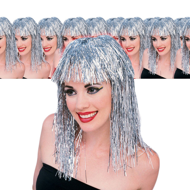 Silver Tinsel Wig 12 PACK  6069D