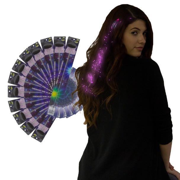 Pink Starlight Fiber Optic Hair Extensions 12PK  6161D