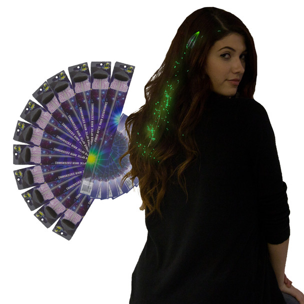 12 PACK Green Starlight Fiber Optic Hair Extensions 6162D