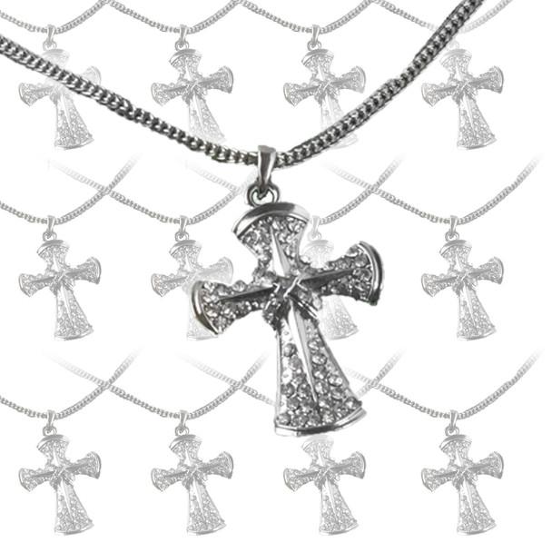 12 PACK  Wholesale Crosses | Cheap Cross Necklaces | Chrome 6562D