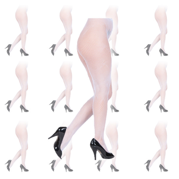 Fishnet Pantyhose White Tights 12 PACK 8041D
