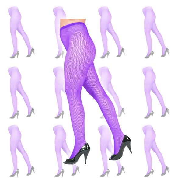 Purple Fishnet Pantyhose Tights 12 PK 8045D