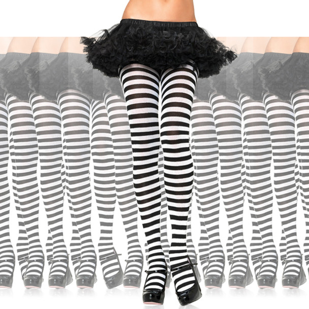 White/Black Striped Opaque Pantyhose 12 PACK 8081D