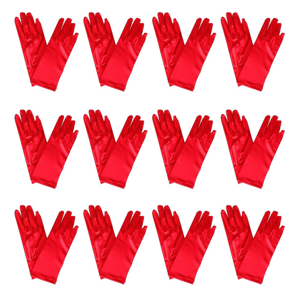 "Red Short Dress Gloves Satin 12 PACK 9""1203D"