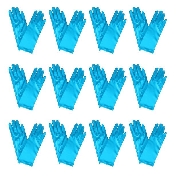"""Turquoise Short Dress Gloves Satin 9"""" 12 PACK 1204D"""