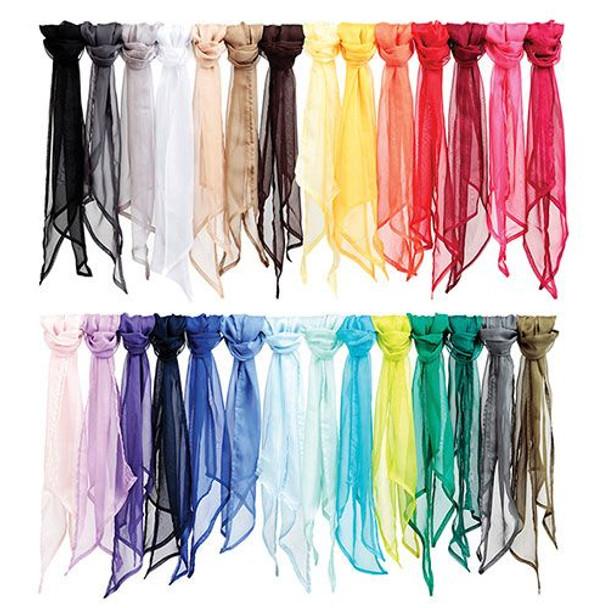 "Plain Chiffon Scarves   Chiffon Shawl   Long 21"" x 60"" Many Colors- 12 PACK Bulk 2129C"