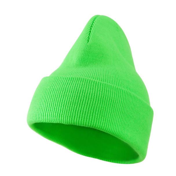 Neon Green Beanie Skullcap Beanie Retro 5763