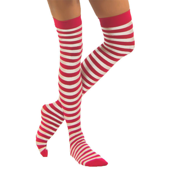 Red and White Thigh High Christmas   Red White Thigh High Wholesale    8170