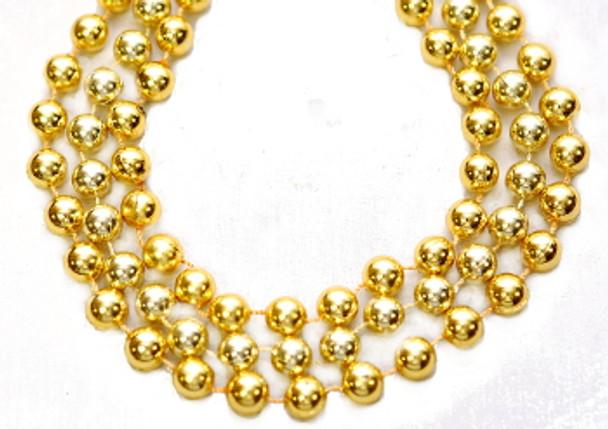 Mardi Gras Beads Gold 12mm Bulk 12 PK 9902