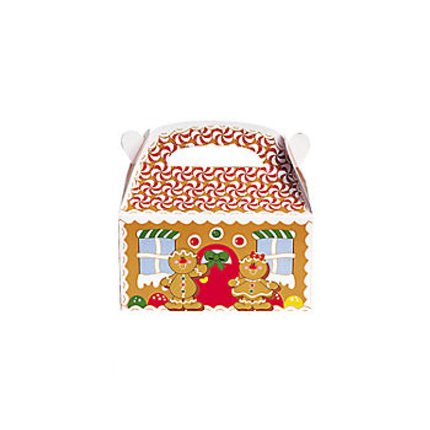 12 PACK Gingerbread Cardboard Treat Boxes 3906D