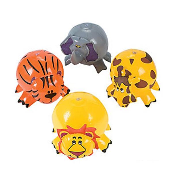 Inflatable Beach Balls Zoo Animal Bulk 12 Pack