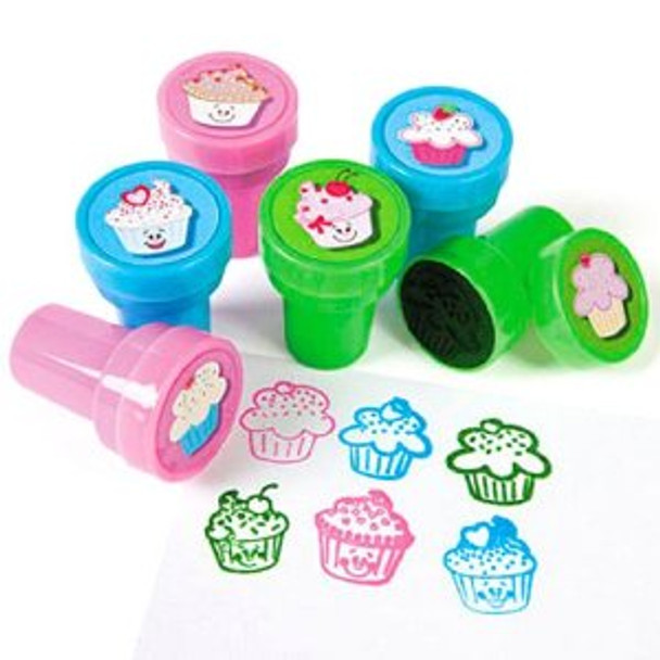 12 PACK Kids Rubber Stamps Cupcake Stampers Bulk 9264D