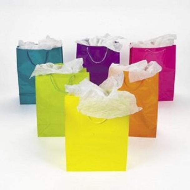 Neon Gift Bags Large Bulk 12 PK 3901D