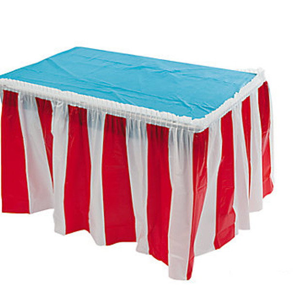 Red and White Striped Table Circus Carnival Skirt 3902