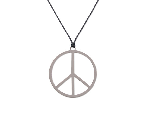 Peace Sign Hippie Necklace Plastic on String 9909