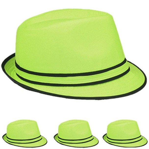 12 PACK  Wholesale Green Fedoras | Bulk Green Fedoras | 5532D Adult Size