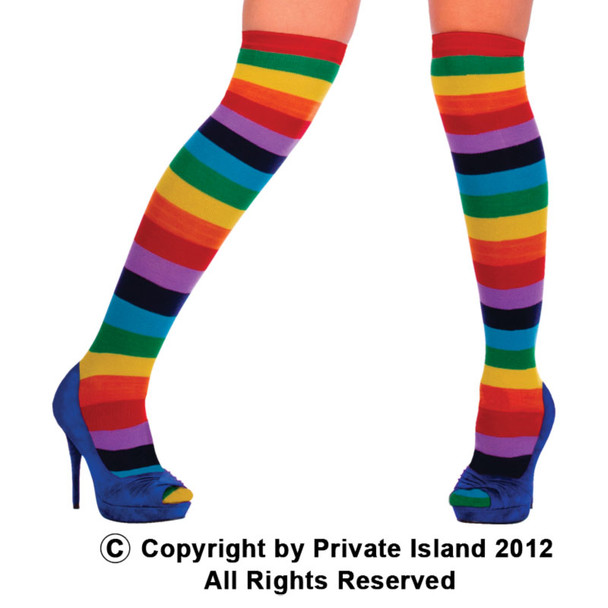 Rainbow Socks Thigh High Bulk  12 PACK  WS8010D