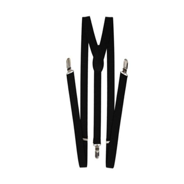 Black  Skinny Suspenders | Skinny Suspenders Bulk | 12PK WS1280D