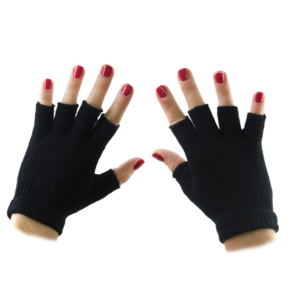 Fingerless Gloves Wholesale | Black Knit Bulk 12 PACK 5075D