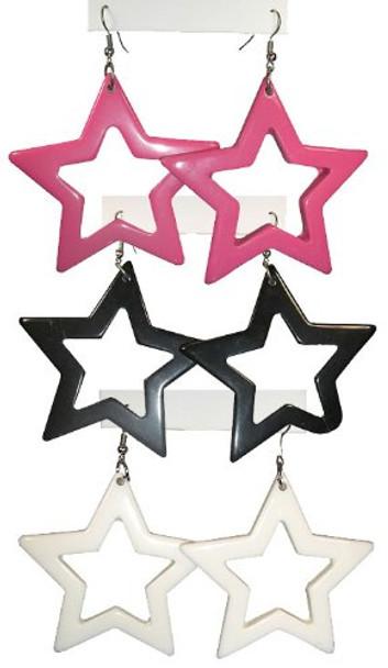 White 80's Plastic Star Earrings  12 PACK WS6538D