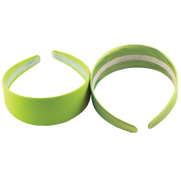 80's Neon Green Satin Headband 12 PACK WS6669D