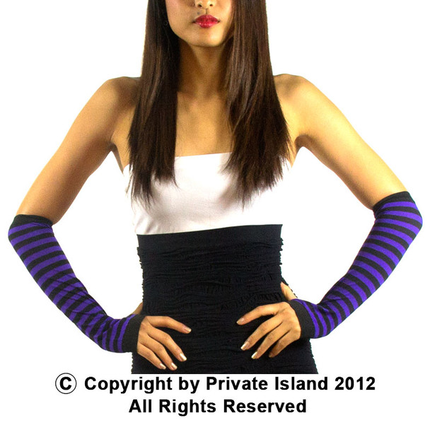 Black and Purple Striped Arm Warmer 12 PACK WS1250D