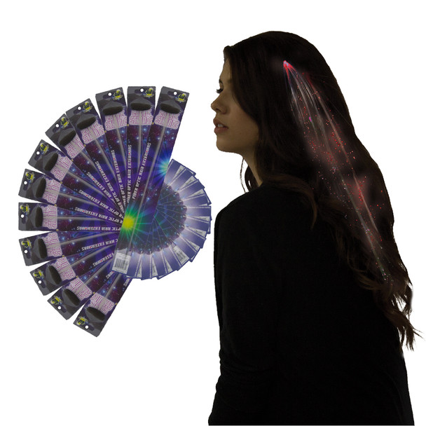 12 PACK Red Starlight Fiber Optic Hair Extensions WS6160D