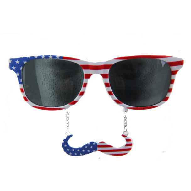 4th of July American USA Mustache Sunglasses 12 PACK