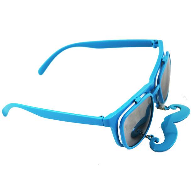 Flip Up Mustache Sunglasses Blue 12 PACK WS7400