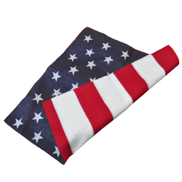 "12 PACK American Flag Bandanna 22"" Square Standard 100% Cotton 1973D"