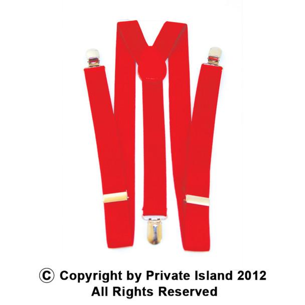 Red Suspenders Bulk Wholesale Clip On Elastic 12 PACK 1294D